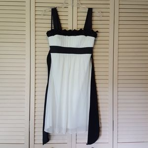 Black and White Junior Dress with Rose Accents